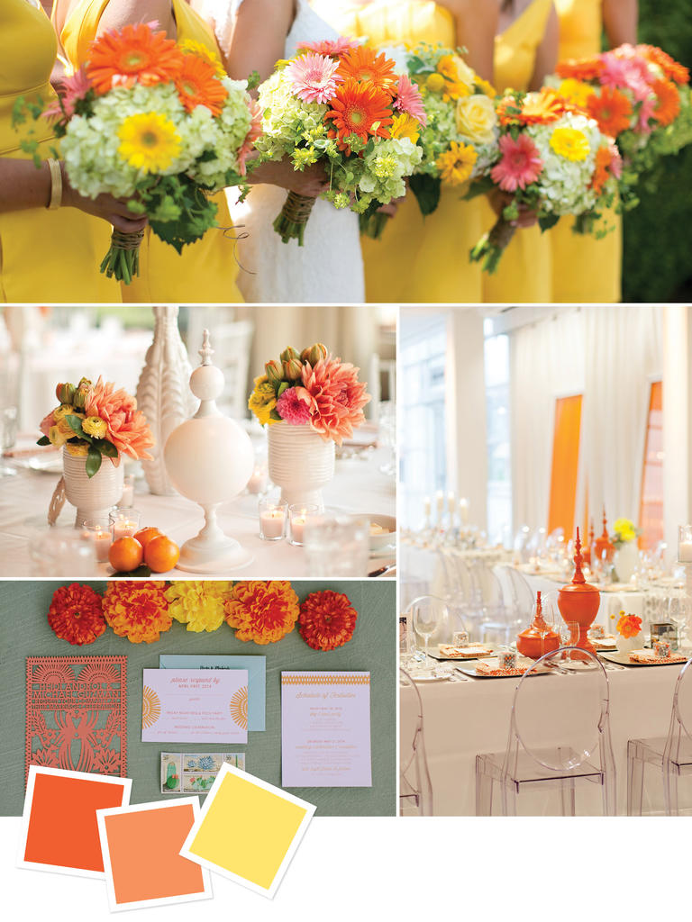 Best wedding color theme ideas in 2017 mariartgrafover blog tangerine orange yellow junglespirit Choice Image